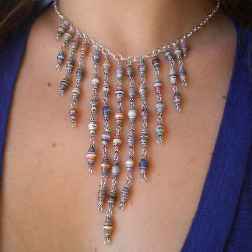 Cascading paper bead necklace by PaperBeads