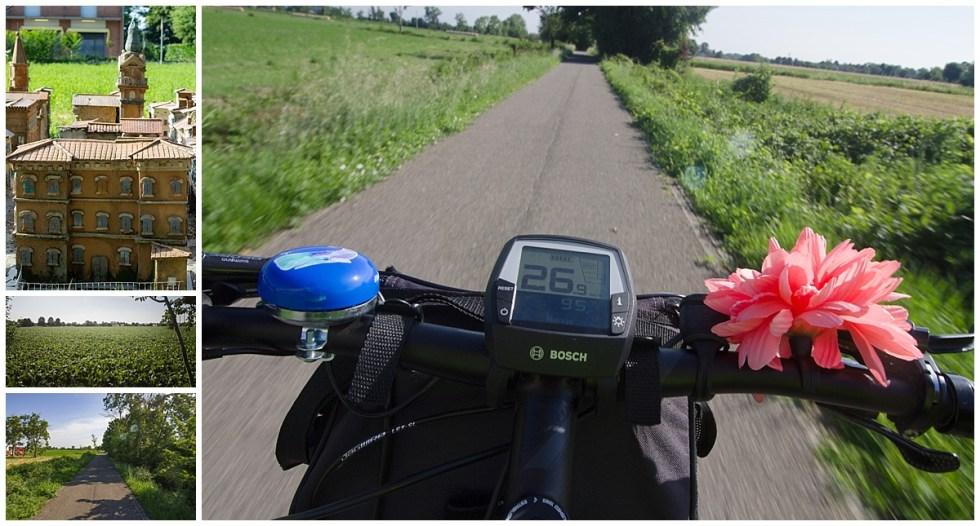 Cycle track into Modena, Italy. Speedometer shows me going 26 kms per hour.