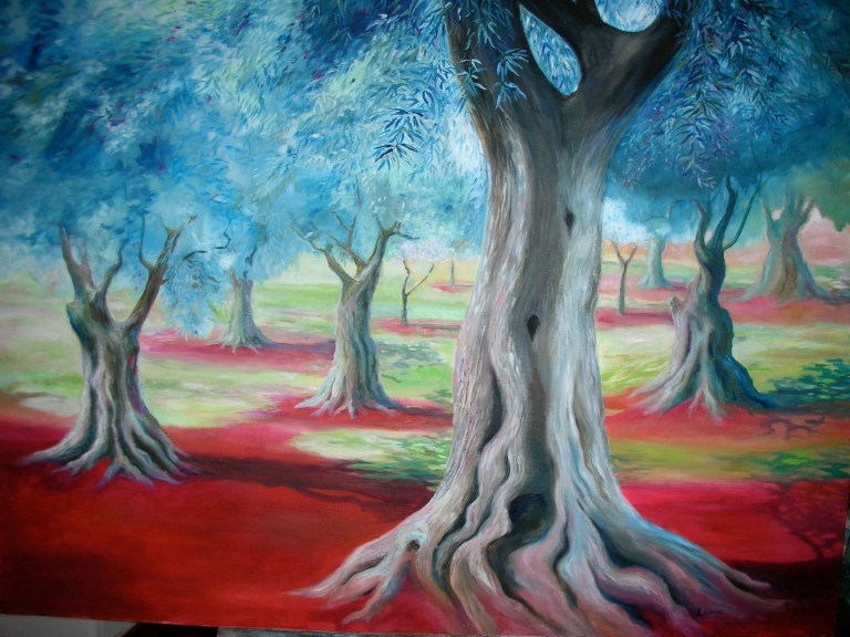 Oil painting by Leanne Talbot Nowell, olive grove
