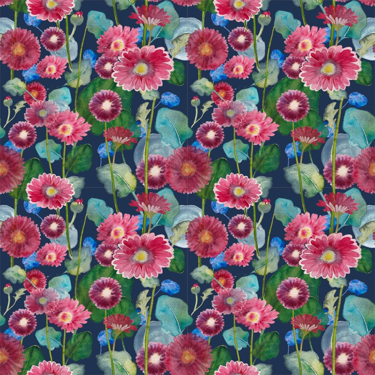 Daisy red blue print