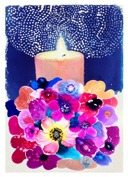 Christmas card floral with candle