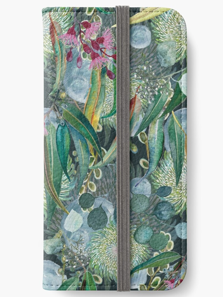 iphone wallet eucalyptus design artwork by Leanne Talbot Nowell
