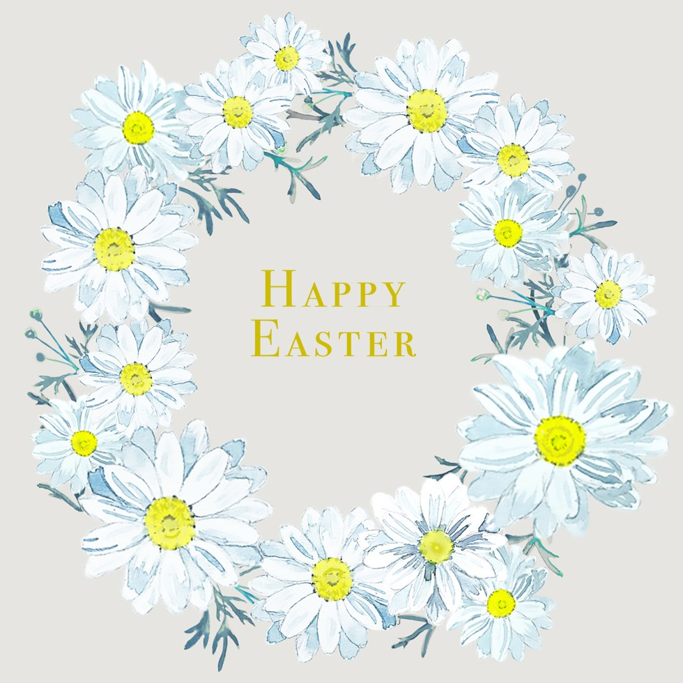 happy Easter daisy wreath by paperbrush