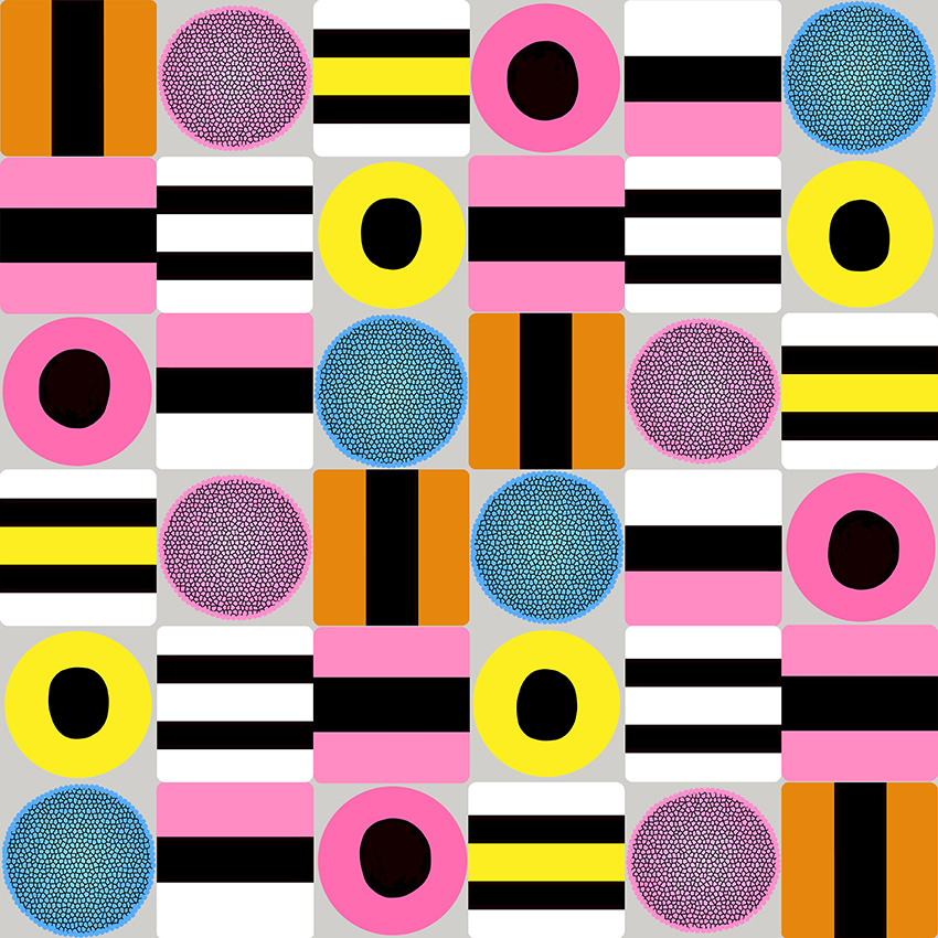 Liquorice all sorts check design by Leanne Talbot Nowell