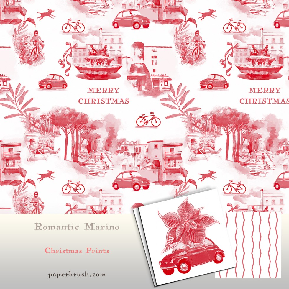 Toile de jouy style surface pattern Christmas