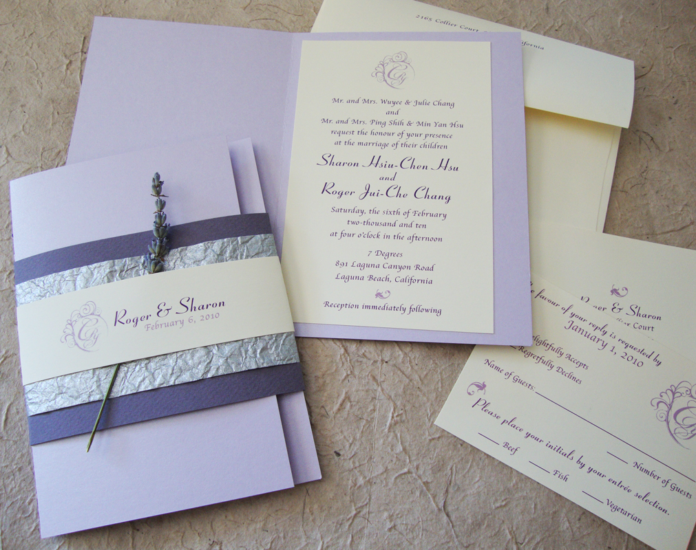 custom wedding invitation lavender booklet suite