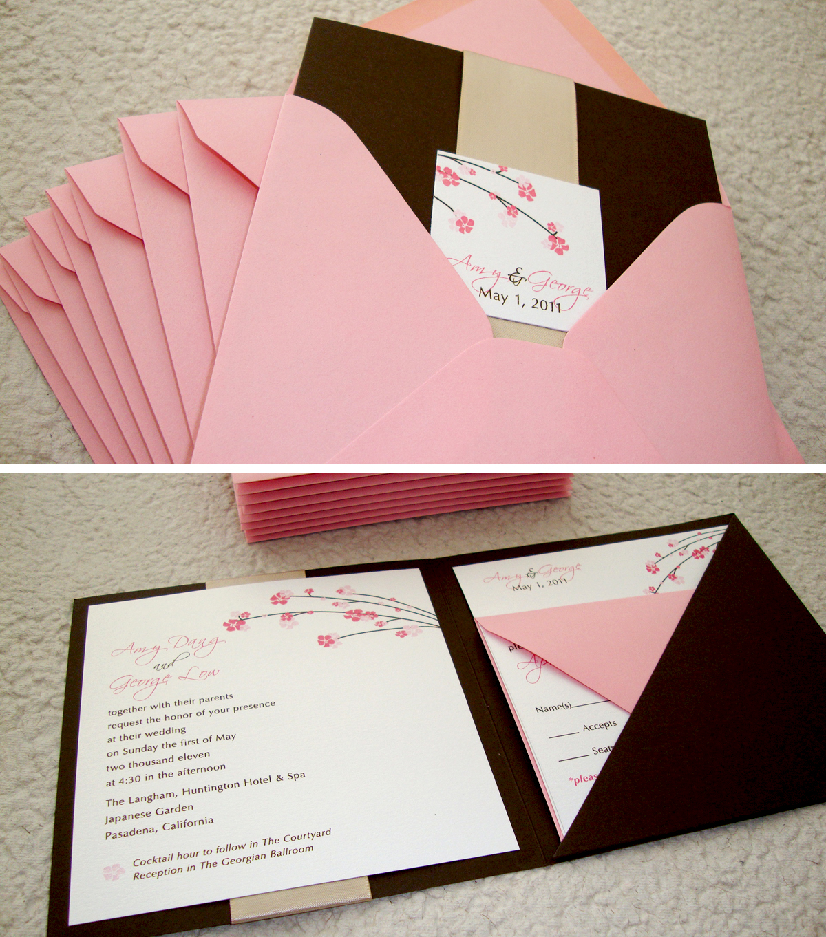 custom wedding invitation square pocket folder