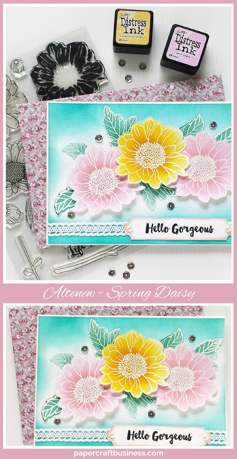 A handmade card created with Altenew Spring Daisy Stamp Set & co-ordinating dies. Read the blog post for step by step instructions & the list of products used so you can create the card yourself - papercraftbusiness.com