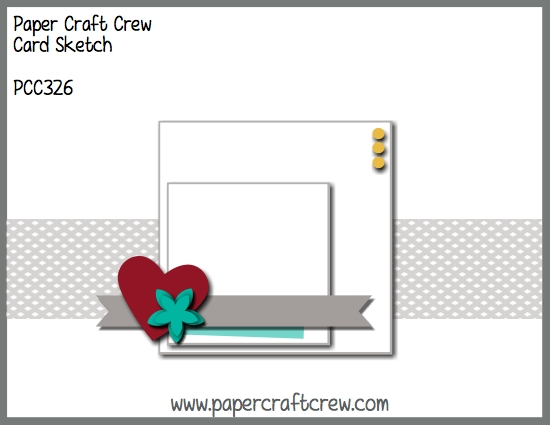 Horizontal sketch featuring stacked squares in the center of the sketch and a background strip along with embellishments in the bottom corner of the squares. This is PCC326 Sketch Challenge