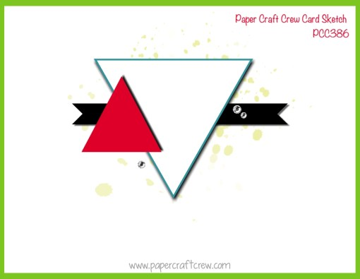 Horizontal Sketch featuring a large upside down triangle with a smaller triangle overlapping on the left with a banner behind the triangles.
