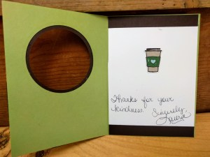 thank you card ideas - latte signed