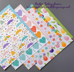 Pleased as Punch Dsp, scrapbook pages, scrapbook layouts, sample boards for Stampin' Up, greeting cards, handmade greeting cards, designer series paper, umbrella paper, tulip paper, flowers, scrapbook paper.