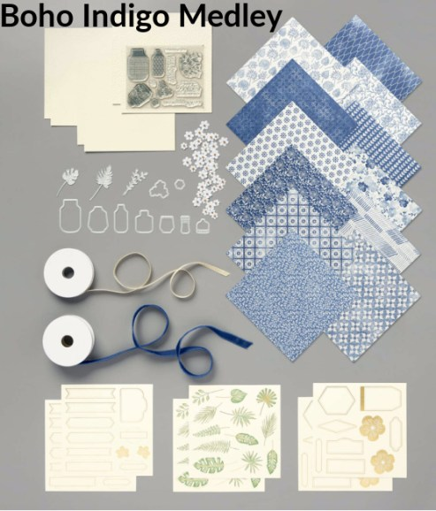 boho Indigo Medley, crafting in a box, creative kits, easy to use kits,  Kits for crafting, greeting cards, handmade cards, PaperCraftsbyElaine.com,