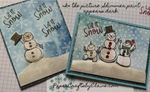 snowman seasons stamp set, how to use a builder punch, how to line up a builder punch, how to use shimmer paint, greeting cards, handmade greeting cards, Christmas Cards 2020 Stampin' Up, Christmas Cards Stampin' Up, Cards for the winter,