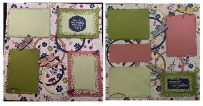scrapbook pages, double scrapbook pages, Dragonfly Garden scrapbook page, ornate garden and dragonfly garden, Stampin' Up Gift Certificate, purchase Stampin' Up gift cards