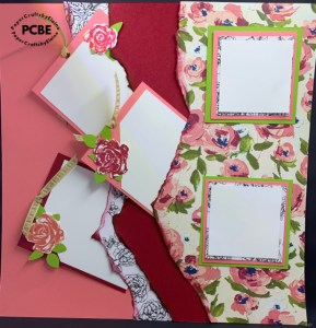 double layout scrapbook paged, double layout using Brushed Blooms, 12 x 12 scrapbook pages, how to tear a scrapbook page layout, scrapbook pages with pockets,