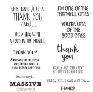 Massive Thank you Stamp set, handmade thank you cards, easy handmade thank you cards, fun thank you cards, thank you cards to make you smile, greeting cards, cards that say thank you plus,