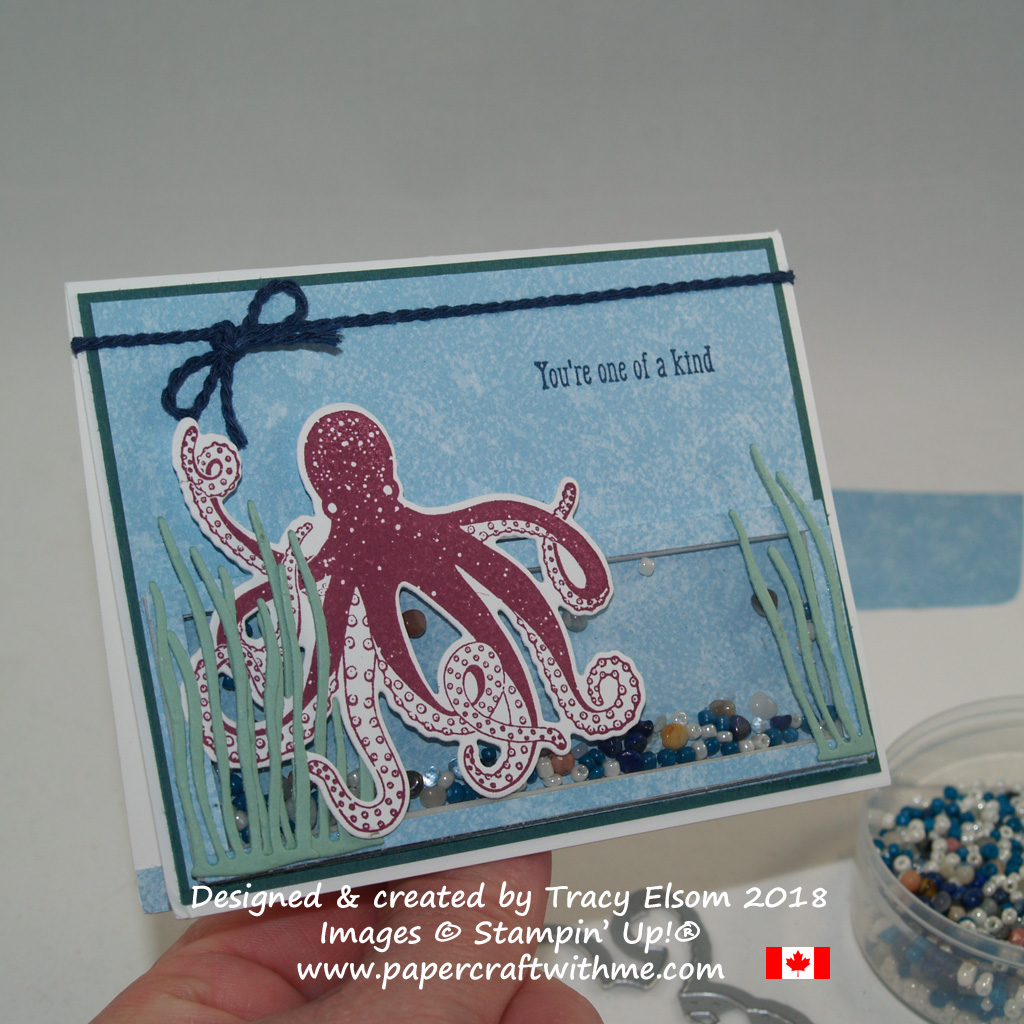 Mini shaker card created using products from the Tranquil Textures suite of products from Stampin' Up!