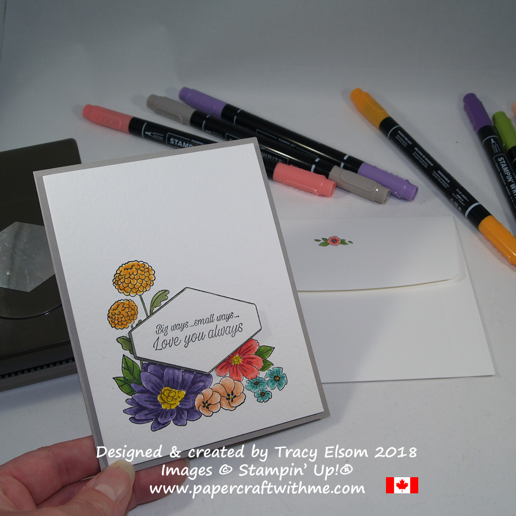 Floral card created using the Accented Blooms Stamp Set from Stampin' Up! www.papercraftwithme.com