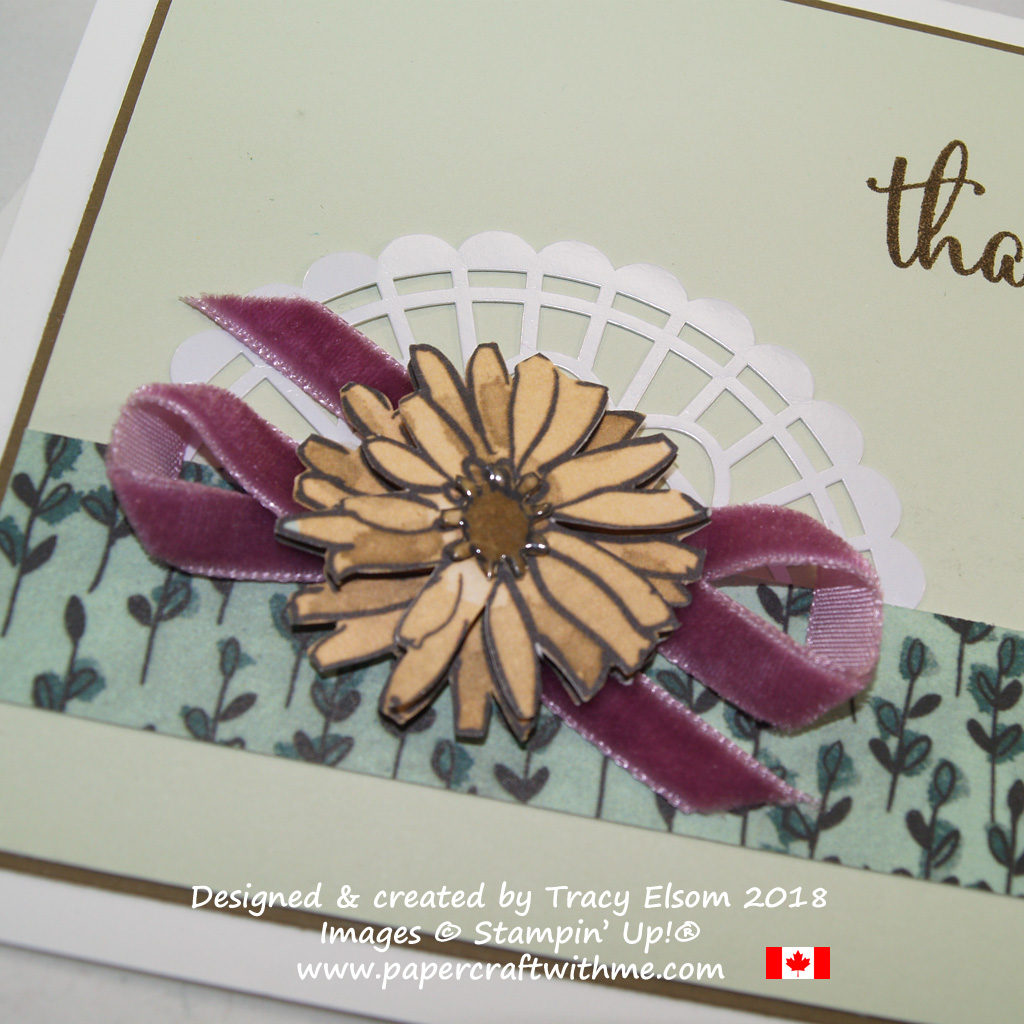 Card embellishment created using velvet ribbon, pearlised doily and the Share What You Love Specialty Designer Series Paper from Stampin`Up!