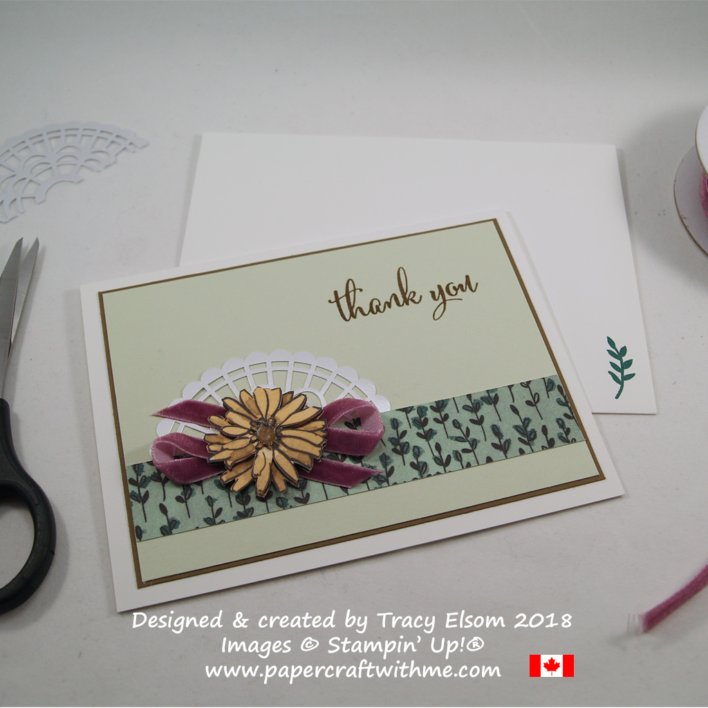 Thank you card created using the Love What You Do Stamp Set and other products from the Share What You Love suite of products from Stampin' Up!
