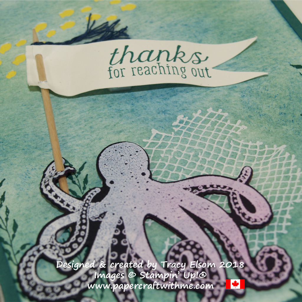 Close up of details on a thank you card featuring an octopus and other images from the Sea of Textures Stamp Set from Stampin' Up!