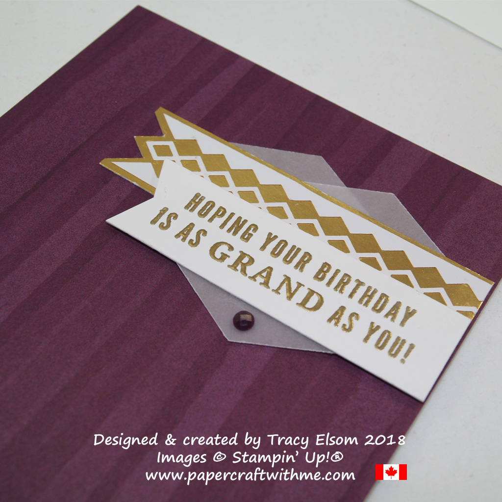 Close up of gold and purple birthday card created using the Truly Tailored Stamp Set from Stampin' Up!