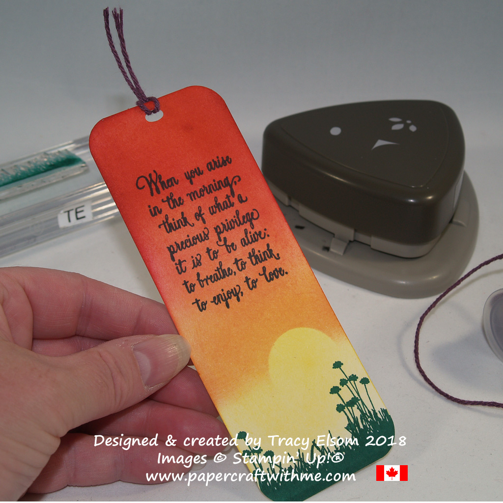 Sunrise bookmark with inspirational sentiment created using the Enjoy Life Stamp Set from Stampin' Up!