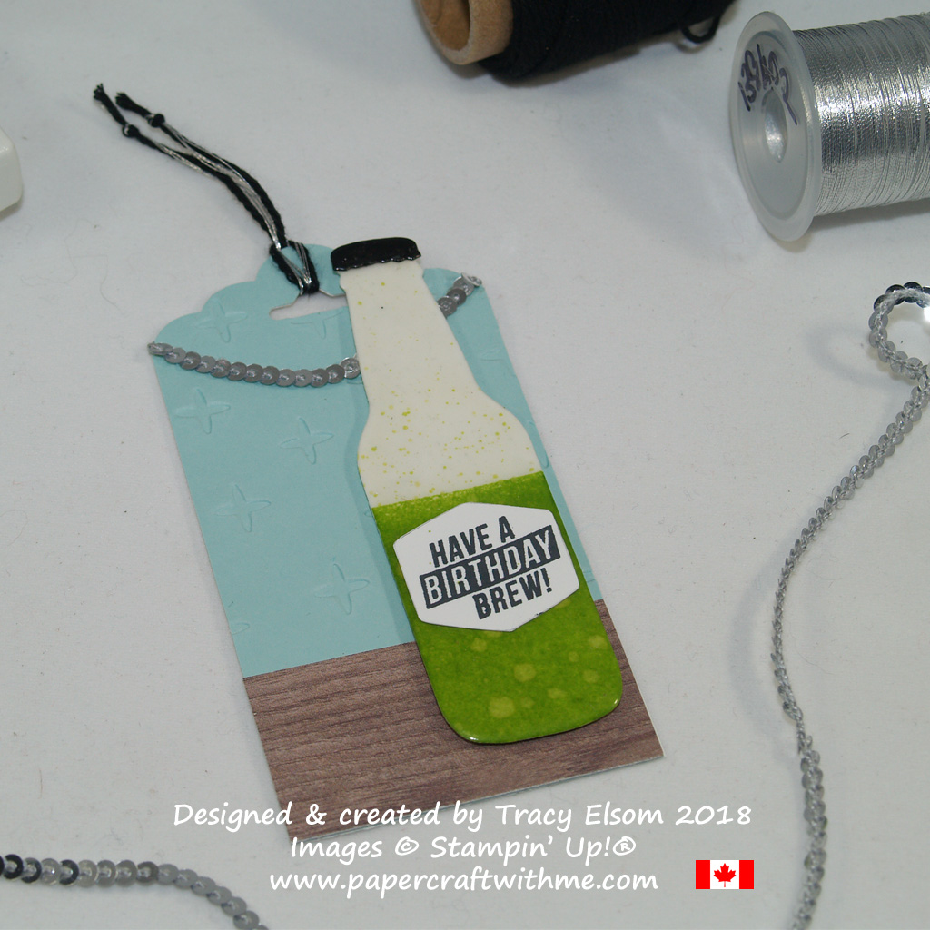Masculine gift tag created using the Bubble Over Stamp Set and coordinating Bottles & Bubbles Framlits Dies from Stampin' Up!