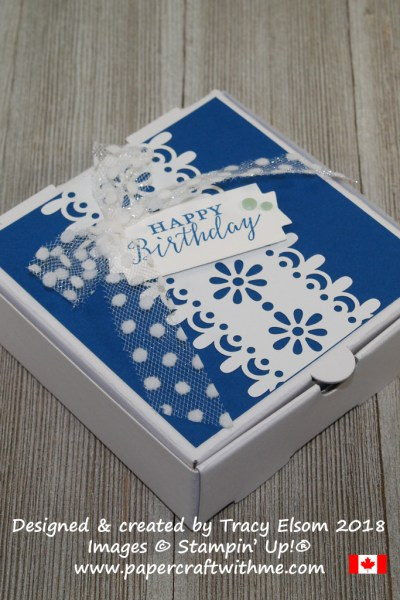 Mini pizza box embellished with a laser-cut panel and dotted tulle ribbon from Stampin' Up!