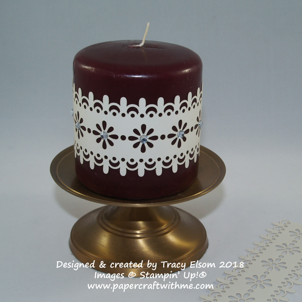 Candle band created using Delightfully Detailed Laser-Cut Specialty Paper from Stampin' Up!