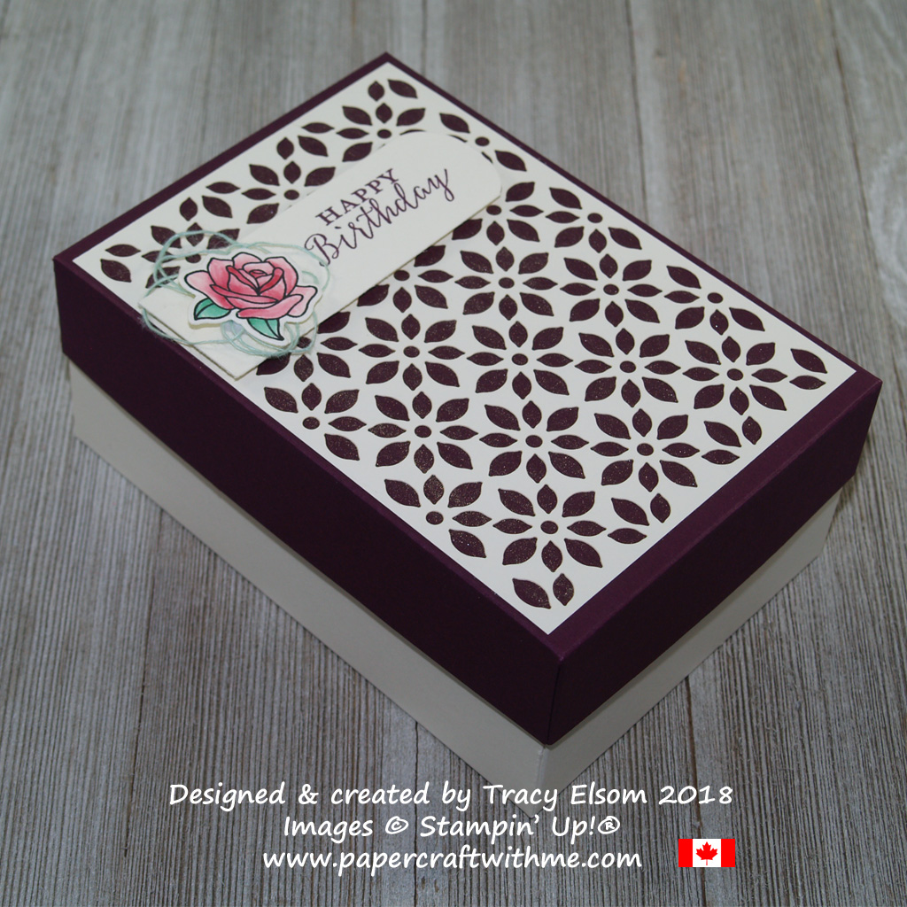 Two-part box created using images from the Detailed with Love and Painted Glass Stamp Sets from Stampin' Up!