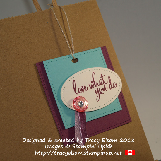 Square layered gift tag created using the Love what You Do Stamp Set and embellishments from Stampin' Up!