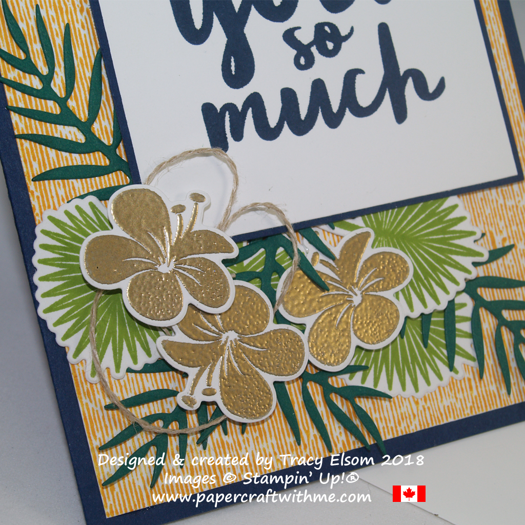 Close up of thank you card created by Tracy Elsom using the Thankful Thoughts and Tropical Chic Stamp Sets from Stampin' Up!