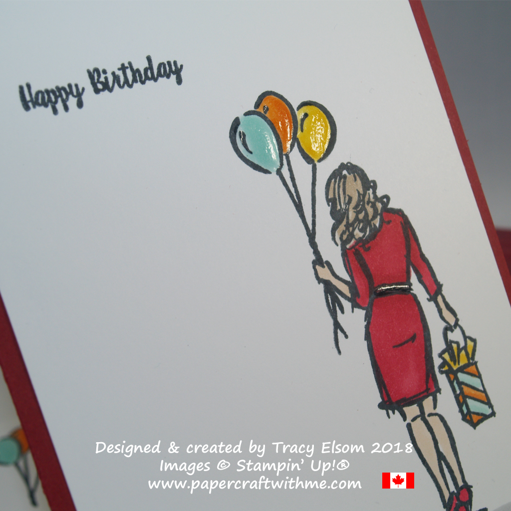 Close up of birthday card created by Tracy Elsom using the Wonderful Moments Stamp Set from Stampin' Up!