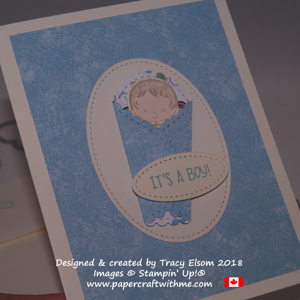 It's a Boy card created by Tracy Elsom using the Sweet Baby Stamp Set and coordinating Bouncing Baby Framelits from Stampin' Up!