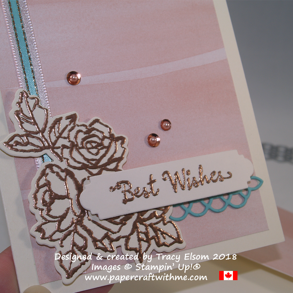 Close up of best wishes card created by Tracy Elsom using the Petal Palette Stamp Set and coordinating Petals and More Thinlits Dies from Stampin' Up!