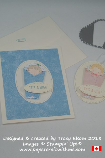 It's a Boy card and It's a Girl gift tag created by Tracy Elsom using the Sweet Baby Stamp Set and coordinating Bouncing Baby Framelits from Stampin' Up!