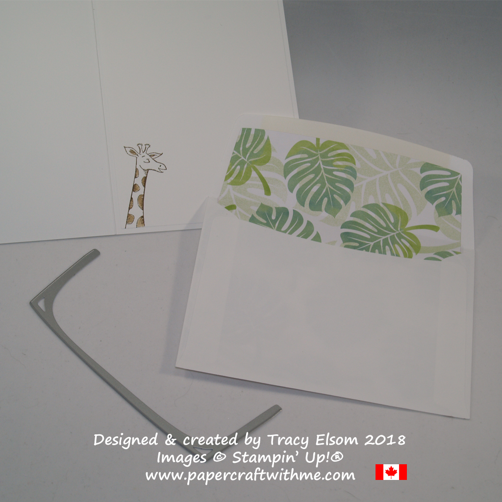 Inside of envelope lined with Tropical Escape DSP cut using Beautiful Layers Thinlits Dies from Stampin' Up!