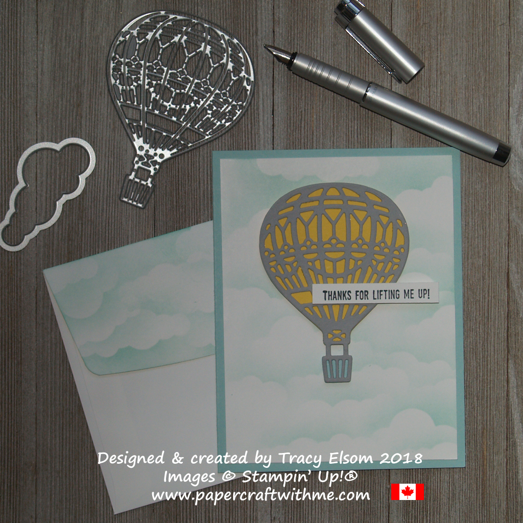 Thank you card featuring a hot air balloon created by Tracy Elsom using the Lift Me Up Stamp Set and coordinating Up & Away Thinlits Dies from Stampin' Up!