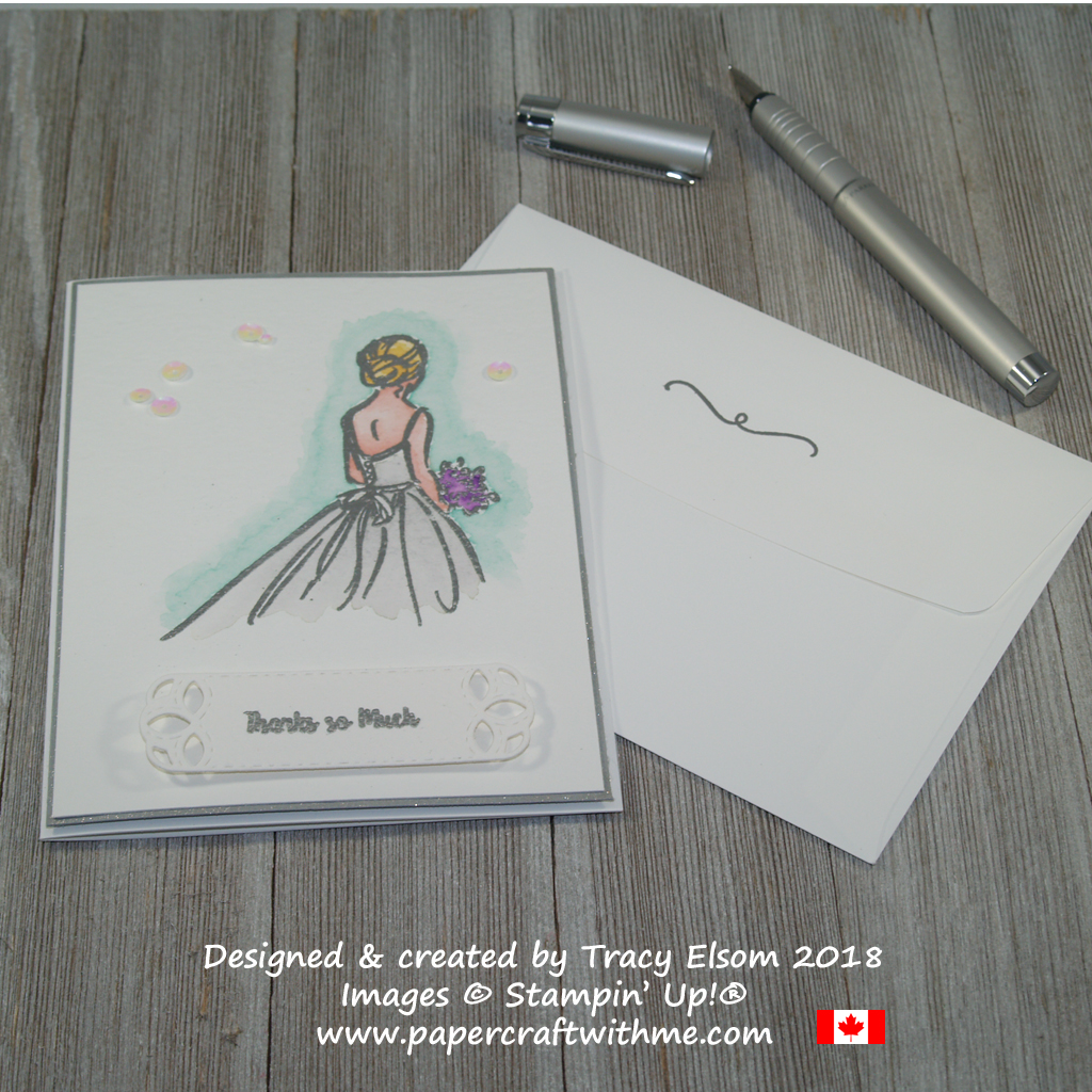 Wedding thank you card created using the Wonderful Moments Stamp Set from Stampin' Up!