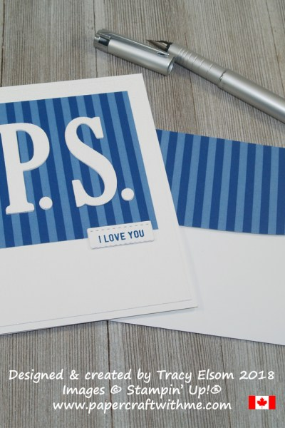 Blue PS I Love You Card created using the Large Letters Framelits and Thoughtful Banners Stamp Set from Stampin' Up!