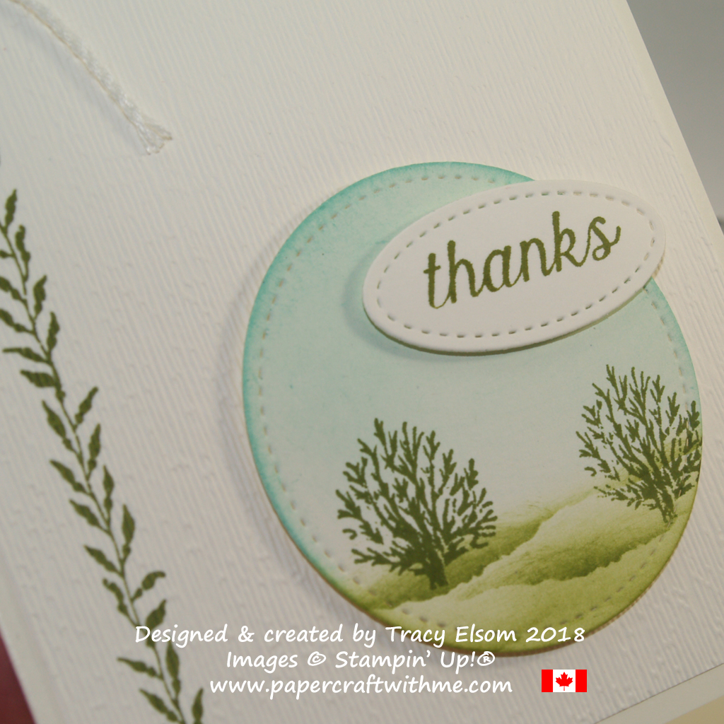 Close up of rural scene thank you card created using the Sea of Textures Stamp Set from Stampin' Up!