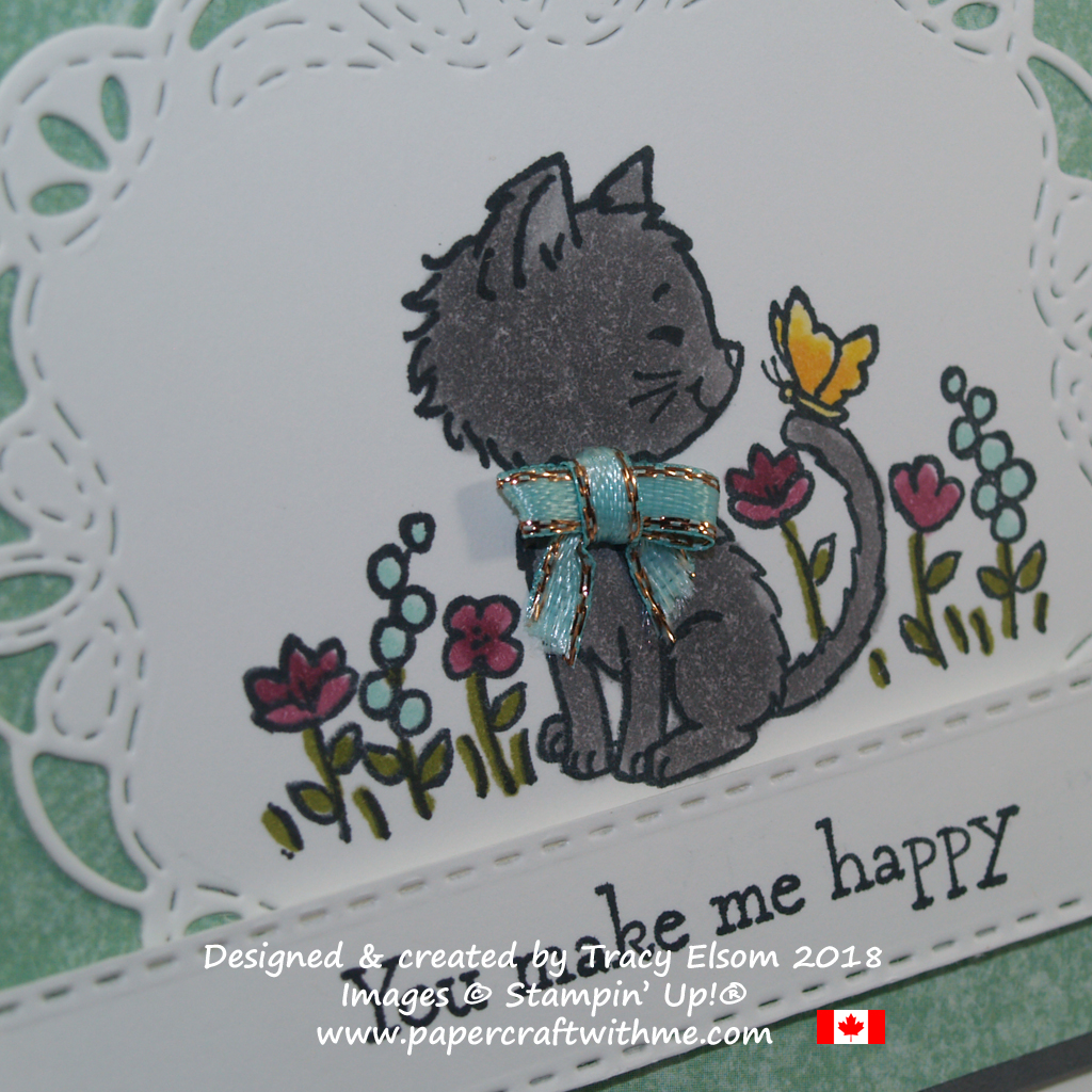 Close up of card created using the Pretty Kitty Stamp Set coloured with Stampin' Blends from Stampin' Up!