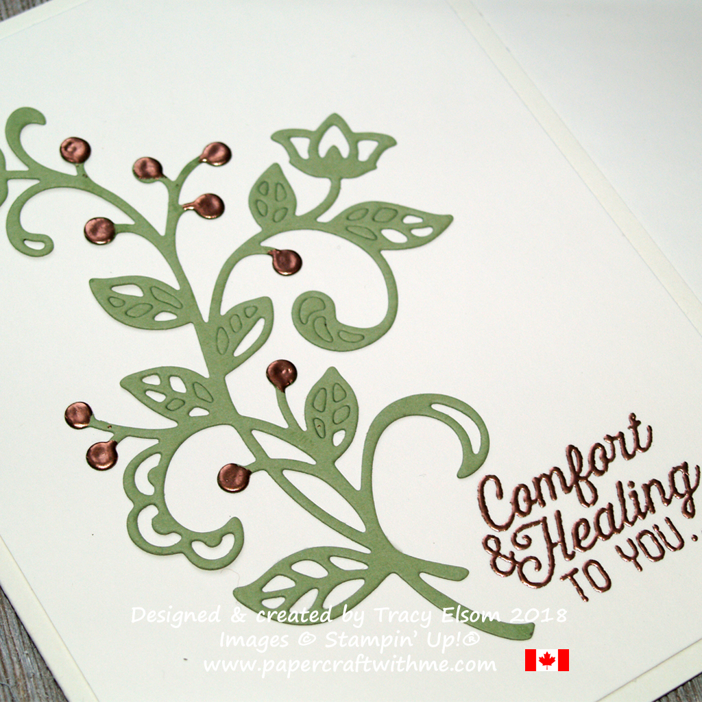 Close up of get well card created using the Flourishing Phrases Stamp Set and coordinating Flourish Thinlits Dies from Stampin' Up!
