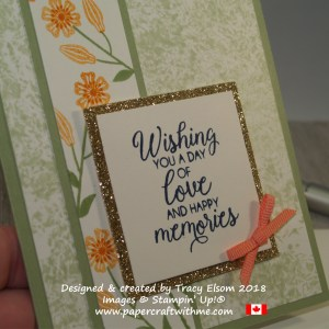 Close up of birthday card with Saran wrap inked background and floral design panel created using the Beautiful Bouquet Stamp Set from Stampin[' Up!