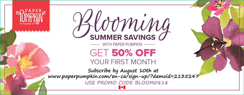 New subscribers can get the August 2018 Paper Pumpkin Kit for half price using this promotion code if they subscribe by August 10th.