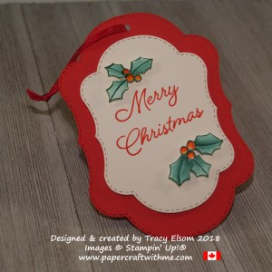 Layered merry Christmas gift tag with holly accents created using the Blended Seasons Stamp Set and coordinating Stitched Seasons Framelits from Stampin' Up!