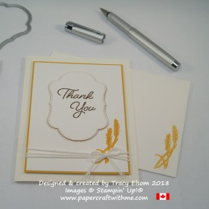 Thank you card featuring the wheat image from the limited edition Blended Seasons Stamp Set from Stampin' Up!