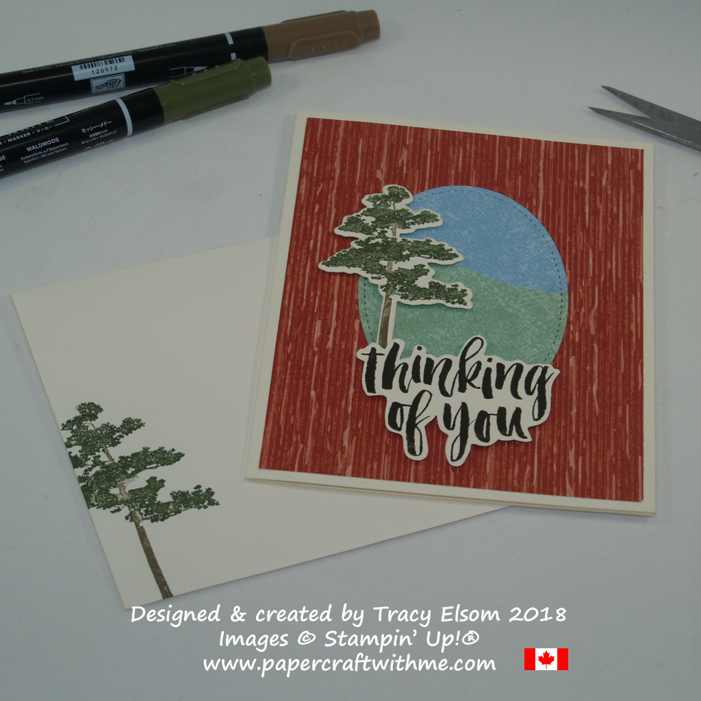 'Thinking of you' card with a lone pine tree, featuring images from the Rooted in Nature Stamp Set from Stampin' Up!